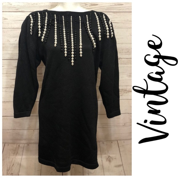 Vintage Dresses & Skirts - [ Vintage ] Black Knit Dress with Pearls